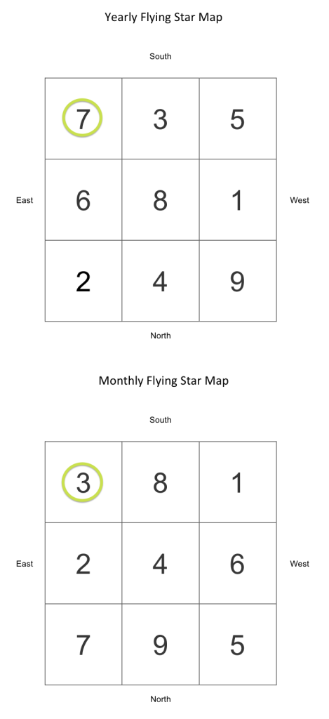 Yearly and Monthly Flying Star Feng Shui Case 2